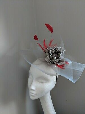 Soft Grey And Red Crinoline Fascinator, Races Weddings