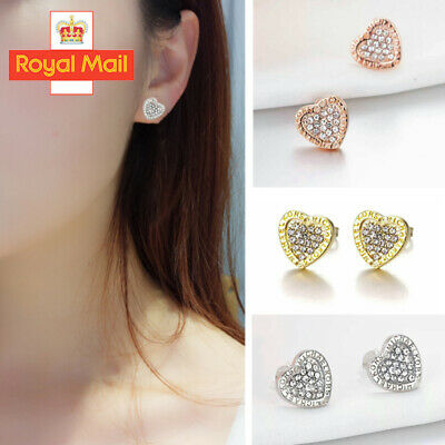 HeartFashion Elegant Gold Silver Rose Circle Crystal Stud Charm Earrings Jewelry