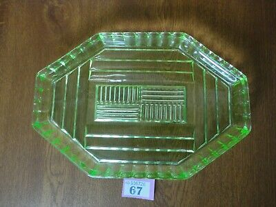 Large Vintage 30 cm Green Uranium Glass Dressing Table Tray / Vanity Set
