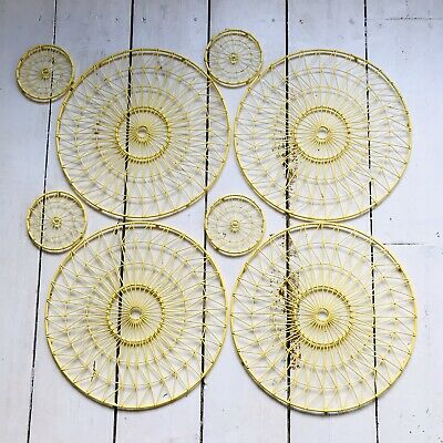 M&S Round Yellow Metal Placemat & Matching coaster Set Geometric Excellent Con