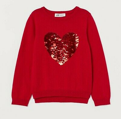 2 X Girls Gorgeous H & M Red Sequin Heart & Pom pom Jumpers 7-8 Years