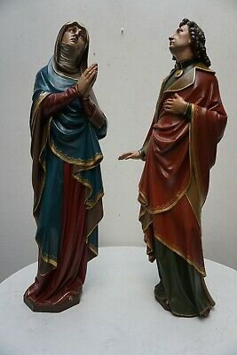 Antique Pair Of Wood Carved Polychrome Religious Statues