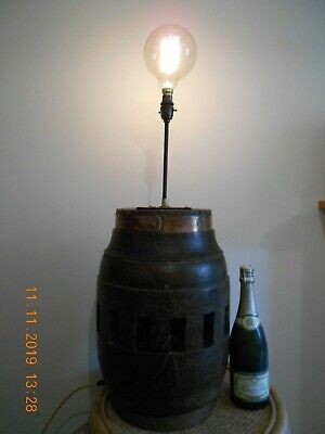 A Massive Antique French Wooden Cartwheel Hub, Converted To An Electric Lamp