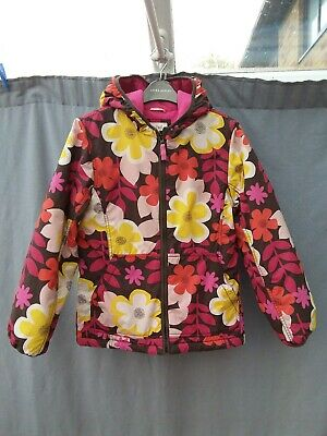 Mini BODEN Girls Floral Print Hooded Winter Coat Size 11-12 Yrs VGC