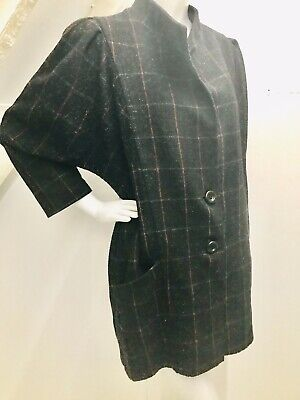 Vintage Wool Coat Black With Check Stylish 8-12 Luxe Boho Rare Statement Sleeve