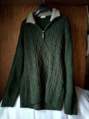John Lewis Men's Merino Wool Mix Jumper Green Medium VG