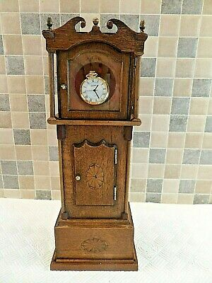 Antique Inlaid Oak Miniature Grandfather Clock Pocket Watch Holder Display Case