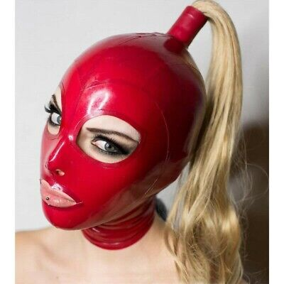 Latex Hood with Blond Pigtail Back Zipper Rubber Mask Golden Wig Cosplay 0.4mm
