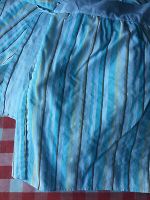 Nojo Crib Skirt Dust Ruffle Baby Blue Brown Stripes Unisex Gender Neutral