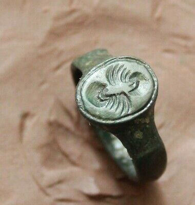 Ancient Roman Bronze Inaglio Seal ring d size =17mm 4g nice Quality Patina Rare