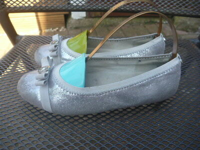 Michael Kors Rover Size Uk 12.5 Girls Silver Pumps Slip On Shoes With Defects
