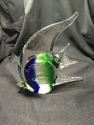 Vintage Angelfish Glass Deco Art Murano Style Paperweight Sculpture Blue Green
