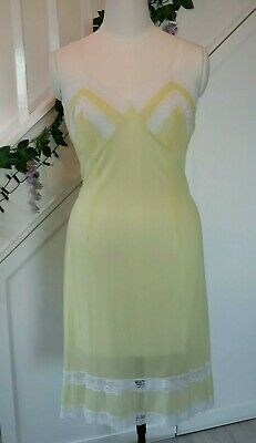 Gorgeous Vintage 1950s Silky Soft Full Slip Dress Pale Yellow Nylon White Lace