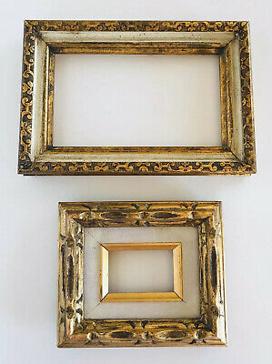 2 MCM Mid Century Modern Vtg Art Deco Carved Wood Wall Painting Picture Frames
