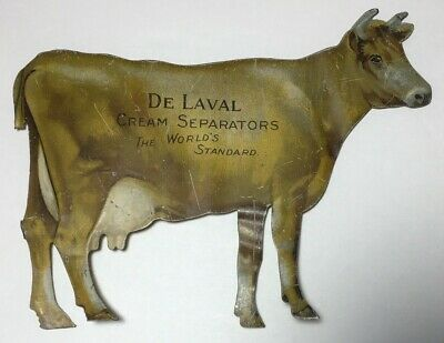 Antique De Laval Cream Separator Tin Advertising Sign Jersey Cow Early 1900s