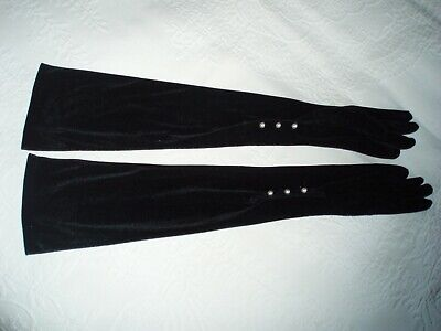 STUNNING vintage 80's OVER ELBOW LONG Black Velvet GLOVES & Pearl Buttons,size 7