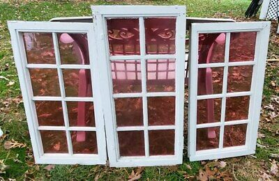 Set of THREE OLD PINK STAINED GLASS 8 Pane Windows - Architectural Salvage