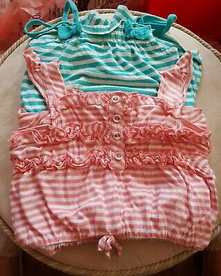 Age 2-3 Years  2 Girls Strappy Playsuits/Romper Suits Ex Cond