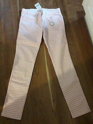Next Girls Pink Gingham Skinny Jeans Age 14 Bnwt