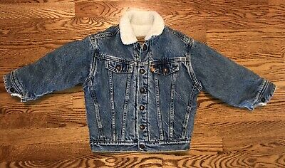 VTG LEVIS SHERPA LINED KIDS DENIM JACKET USA JEAN TRUCKER YOUTH 6 Toddler 74037