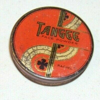 Vintage 1920s? Tangee Face Powder Round Art Deco Shamrock Box empty