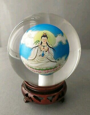 Asian/Chinese Reverse Hand Painted  Glass Ball Sphere Globe with Stand/Box