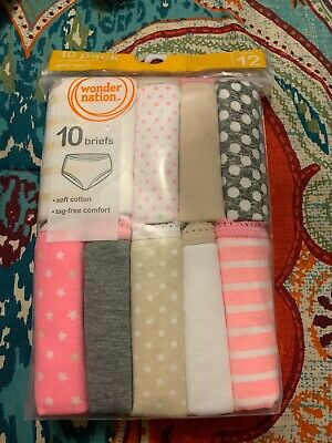 Wonder Nation 10 Pack Girls Briefs size 12 NEW Free Shipping