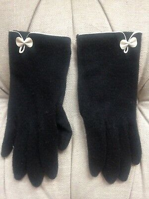 Women's black wool gloves with dainty leather cream bow, Monsoon Accessorize