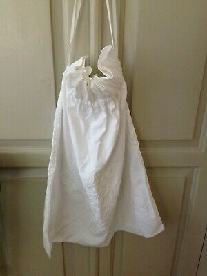 Large vintage white cotton drawstring bag with floral detail ideal for laundry