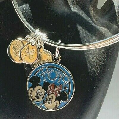 Disney Parks Alex and Ani 2019 Mickey & Minnie Mouse Silver Bangle Bracelet
