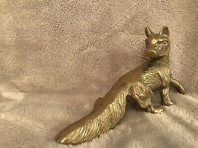 Vintage Antique Heavy Solid Brass Fox Ornament