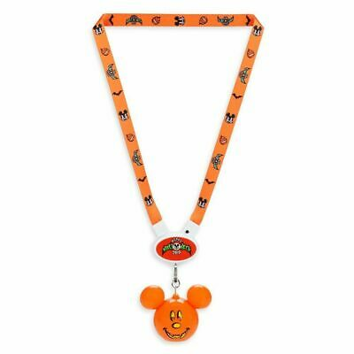 Disney Parks Halloween Fall 2019 Light Up Mickey Mouse Pumpkin Glow Lanyard NWT