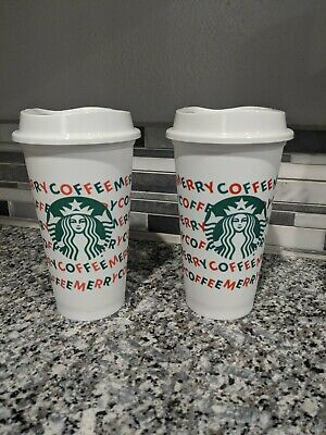 Lot of 2 Starbucks 2019 Holiday Reusable Hot Cup 16 oz Plastic Cup Merry Coffee