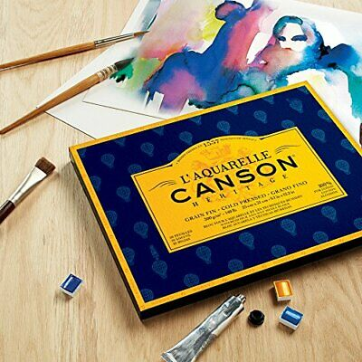 Canson Heritage Watercolour Pad, Glued on 4 Sides, 20 Sheets, fine Grain Fine Gr