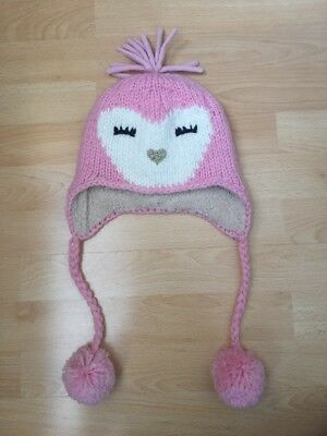 New Debenhams Girls Owl Heart Pink Winter Hat With Pom Poms Age 9-10 Years