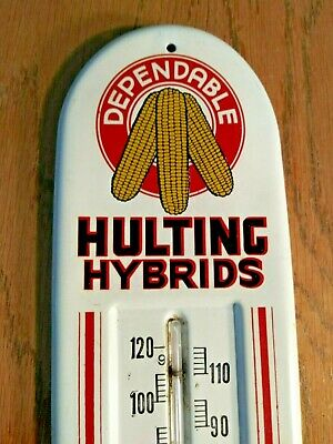 Rare 1950s Vintage Hulting Hybrids Corn Thermometer Sign Geneseo IL Farm Old oil