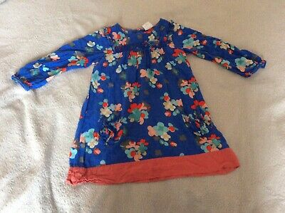 Next Girls Blue Floral Long Sleeved Dress - Age: 3-4 Years