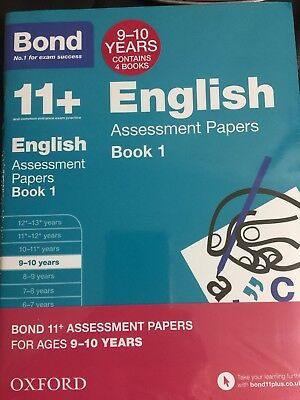 Bond 11 Plus Assessment Papers English Maths Verbal&non VerbReason 9/10 Set Of 4