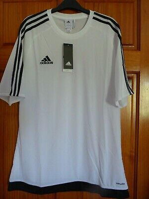ADIDAS MENS CLIMALITE TOP Size Large White with Black Stripes