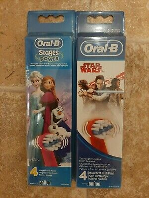 Oral-B toothbrush heads Stages Frozen 1 x pack of 4 and Star Wars 1 x pack of 4