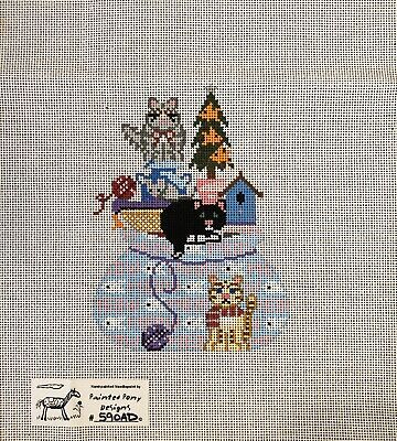 Painted Pony Designs Handpainted Needlepoint Canvas Santa's Bag/Cats