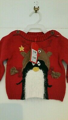 Brand New Baby Girls Red Christmas Jumper Age 3 6 Mths Cute Fluffy Penguin Bows