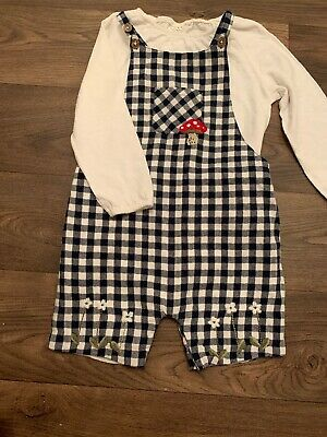 Girls Next Outfit Set Dungarees Check Gingham 18-24