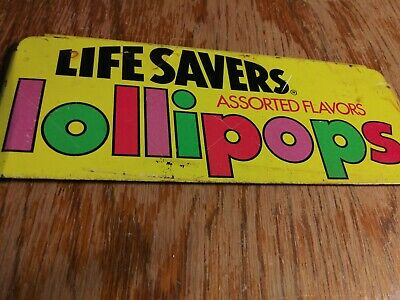Vintage 1950s Life Savers Lollipops Metal Sign Old Candy Store Sweets Treats