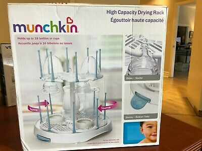 Munchkin High Capacity Drying Rack, White,Plastic,Removable,Reversible Drip Tray