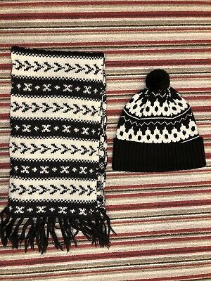 Mens Junk Deluxe Hat And Scarf Set Brown And Cream