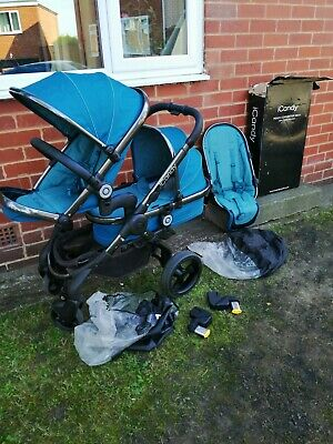 Icandy Peach 3 peacock with space grey chassis 2 seats lower cot and more