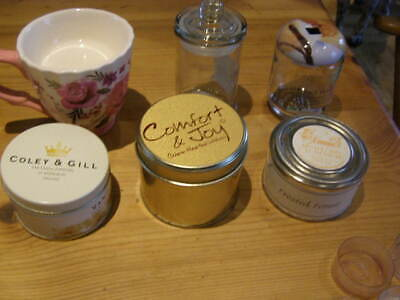 Mixed lot for candle making -tins, glass lidded jars and china teacup 6 items