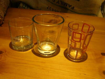 3 x large chunky glass candle jars for candle making -round and tall