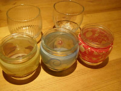 5 x  glass candle jars Candle making or tealight holders